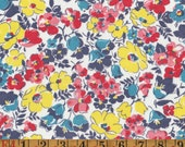 Vintage Feedsack Fabric - Aqua, Navy, Rose-Red, and Yellow Floral - Flour Sack Quilting Cotton 1930s 1940s