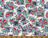 Vintage Feedsack Fabric - Navy and Red Floral - Flour Sack Quilting Cotton 1930s 1940s