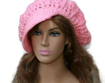 Newsboy hat, Petal Pink Cap, Visor Tam Hat, Slouchy Beanie hat, Newsboy Beanie Billed hat, crochet light pink papergirl cap, slouch hat