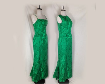 Vintage Gown, Prom, Bridesmaid, Dress, Green Brocade, Emerald Green, Mermaid, Fitted, Sleeveless Jacket, Floor Length,Long,1960s, Small
