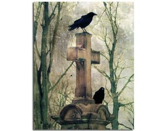 Professional Goth Photograph, Grunge Background, Raven On Cross, Blackbirds, Halloween Art, Crows Print  -  Urban Graveyard Crows