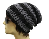 Slouchy Beanie Mens Slouch Beanie Crochet Gamer Style Hat Black and Gray Stripes