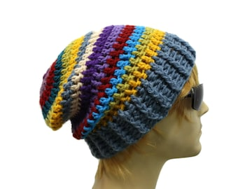 Mens Slouchy Hat Slouchy Beanie Hipster Hat Crochet Slouch Beanie Mens  Striped Hat