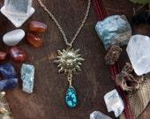 Tarot Gold Sun Turquoise Stone Necklace