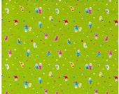 Sale HALF YARD Lecien - Minny Muu Love Birds on GREEN - Birds on Branch, Polka Dots, Berries and Leaves - Japanese