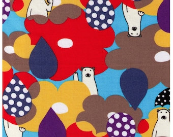 HALF YARD - Rainy Day Polar Bears with Umbrellas - Oxford Cotton - Kokka Japanese Import