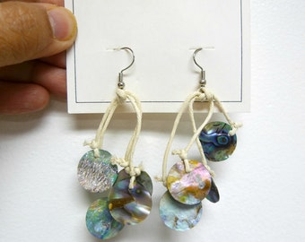 ALISSA  . abalone discs . cord . waterfall earrings