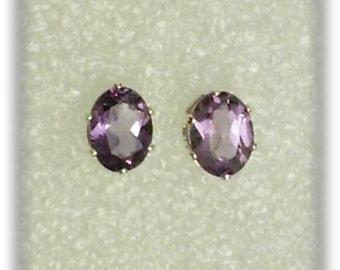 8x6mm Purple Amethyst Gemstones in 925 Sterling Silver Stud Earrings SnapsByAnthony February Birthstone