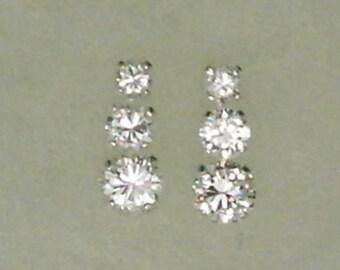 3mm 4mm 5mm White Cubic Zirconias in 925 Sterling Silver Stud Dangle Earrings