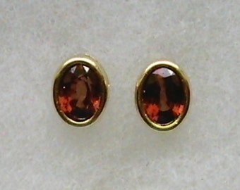 8x6mm Red Zircon Gemstones in 14k Yellow Gold Backset Bezel Stud Earrings
