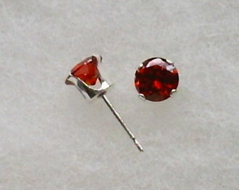 6mm Red Cubic Zirconias in 925 Sterling Silver Stud Earrings SnapsByAnthony