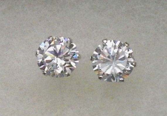 9mm White Cubic Zirconias in 925 Sterling Silver Stud Earrings