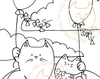 Digi Stamp Instant Download. Congrats, It's A Kitten! - Knitty Kitty Digis No. 11.
