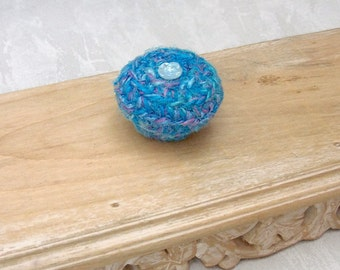 Blue Rose Mini Basket with Lid - Unique Color Basket Embellished with Glass Button - Flower Inspired Gift for Her - Mother's Day Gift STB083