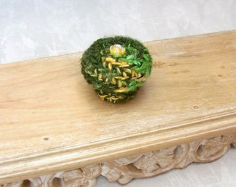 Mini Basket with Lid - Handmade Silk Basket Embellished with Yellow Rose - Unique Green Color Basket - Flower Inspired Gift for Her STB085