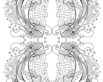 All Ages Coloring Art Print Koi Fish Design 11x17 Poster Art For You To Color with FREE Markers