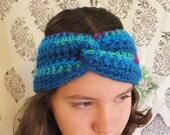 Blue Green Fuchsia Turband Size Small-Medium Turband Crochet Turban Colorful Headband Women's Headband Knitted Boho Headband Wool Headband