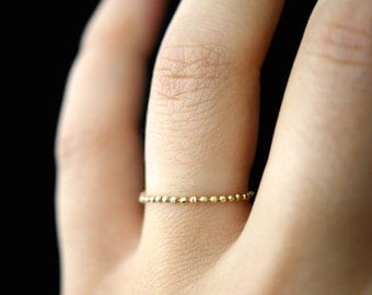 SOLID 14K Gold Beaded Chain ring, Thin gold ring, 14k gold band, 14k gold chain ring, delicate gold ring, gold bead ring, gold wedding band