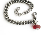 Rare Red Seaglass Beach Glass Sterling Silver Heavy Vintage Curb Chain Charm Bracelet New Hampshire Glass