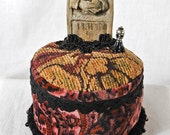 Victorian Tombstone Pincushion: Stoneware Grave Marker on a Vintage Tapestry Tuffet- MAUVE