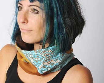 Blue and camel Cowl scarf, Caramel brown and lagoon blue patterned patchwork snood, Patterned patchwork neckwarmer