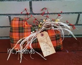 Orange Plaid Homespun Fabric Pumpkin Fall Decoration