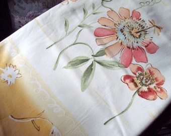 Vintage Covington Fifth Ave Spring Colors Large Floral Screen Print Upholstery Decorator Fabric