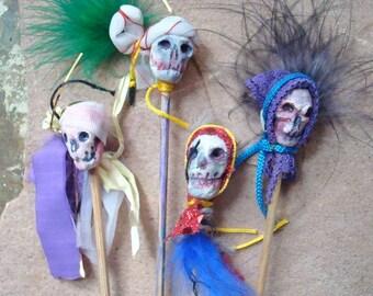 Ceramic Clay Skull Dia de Los Muertos Voodoo Doll Plant Sticks Party Halloween Decor