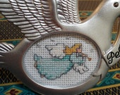 Dove of Peace and Angel hand embroidered framed ornament