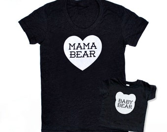 Mama Bear and Baby Bear Matching Set Triblend Heather Black with White Print - Family Photos, Mommy and Me, Mini Me