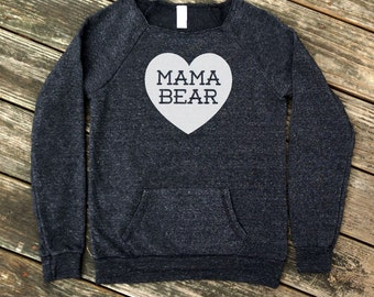 Mama Bear with Heart Heather Black Sweatshirt with White print