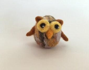 Needle felted owl, Needlefelting, Tiny, Brown, Tan, Miniature, Little