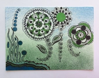 Original ACEO Land and Sea theme, Ink and Colored Pencil, Green, Blue, Flowers