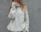 oversized, slouchy, sweater, Ivory polo neck sweater, white, comfy sweater, pullover