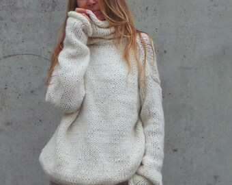 over sized, slouchy, sweater, Ivory polo neck sweater, white, comfy sweater, pullove, long sweater