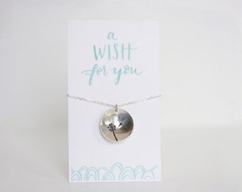A Wish For You--Hand Stamped Dandelion Necklace