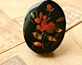 Vintage German 40x30mm Hand Painted Black Glass Flower Cabochon (24-11B-1)