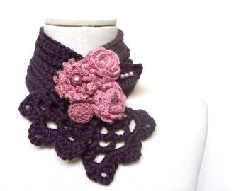 Crochet purple scarflette neckwarmer necklace with powder pink flowers -  Plum, Egg plant, Purple  and Pink wool - WILD FLOWERS