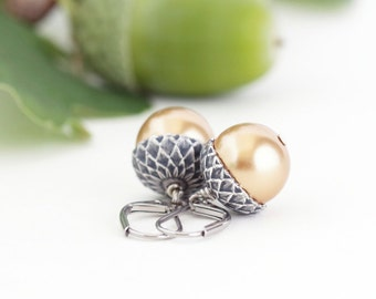 Gold Acorn Earrings - Silver and Rich Gold Pearls - Dangle Earrings - Woodland Jewelry - Rustic - Autumn - Nature Jewelry - Gift For Mom