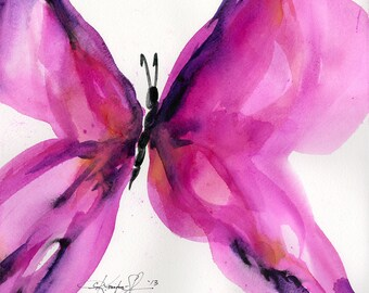 SALE!  - Butterfly Song 37... Original abstract Butterfly watercolor art ooak painting by Kathy Morton Stanion  EBSQ