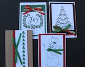 Personalized Collection of Hand-Sewn Beaded and Embellished Hand-made Christmas Holiday Cards - You Pick your selection of 5 or 10 cards