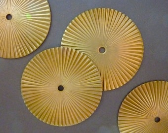 3 Large Brass Fluted Ridged Round Pendants Charms Medaillons Circles