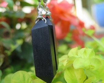 Jet Black Ebony Wood Earrings -  Woodworking - Jet Black - Sterling Silver - Classic - Wire wrapped - Woodworking - Natural Earthy - Edgy