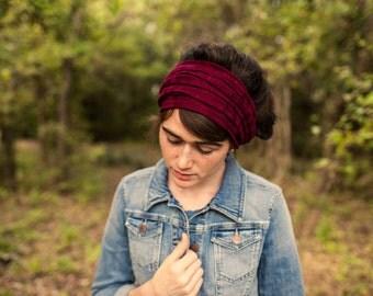 Sweater Knit Cowl Headwrap in Garnet - Garlands of Grace headband scarf convertible headcovering
