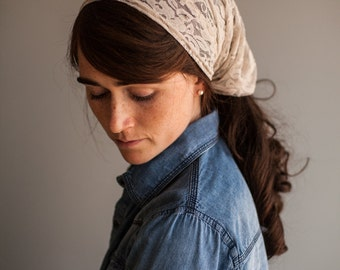 Cafe Cream Lace Cowl Headwrap- Garlands of Grace headband scarf convertible headcovering