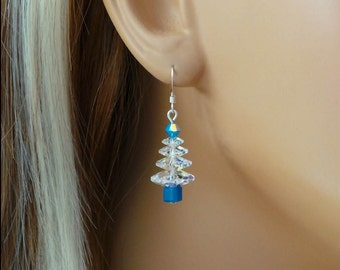 Clear Christmas tree earrings with a hint of blue