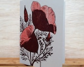 Poppy Flowers greeting card pack set of 8 red