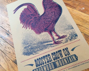 ROOSTER CROW Letterpress Poster