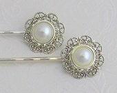 Pearl Hair Pins, Ivory Pearl Clip,Crystal Bobby Pins, Vintage style, Bridal Hair pins, Bridesmaid hair pin, Pearl U-Pin, hair brooch