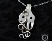 Thoughtful Octopus Fork Pendant - Handmade from Vintage Sterling Silver Plated Silverware - Unique Silverware Jewelry Necklace by Doctorgus